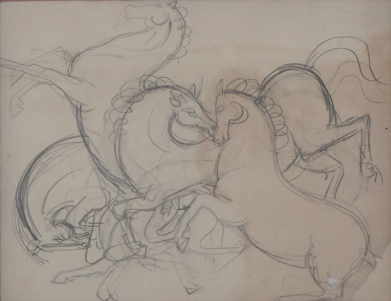 Prancing Horses - Original pencil drawing - Art by André Lhote