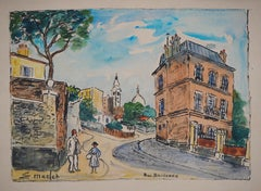 Paris, Ravignan Street in Montmartre - Handsigned watercolor - circa 1950