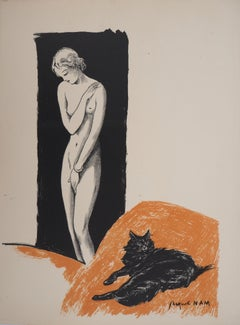 Nude and cat - Original Lithograph - c. 1937