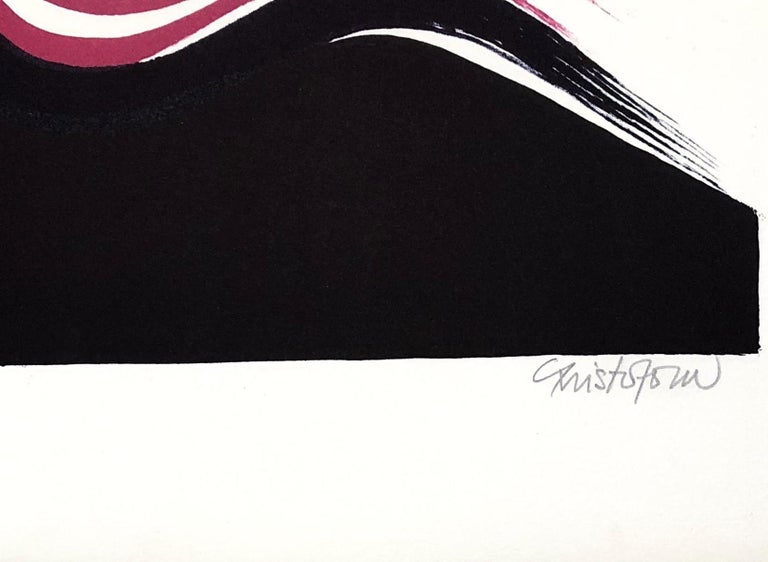 Abstract Composition - Original Lithograph Handsigned and Numbered - Abstract Expressionist Print by John Christoforou