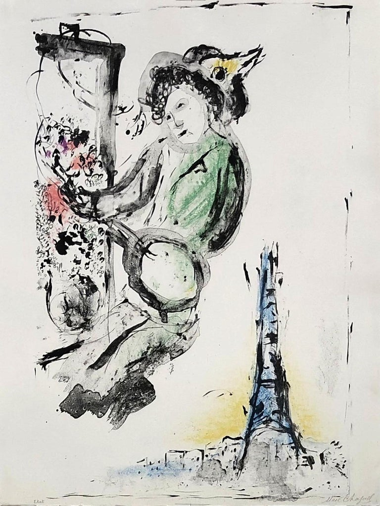Marc Chagall Figurative Print - Le Peintre sur Paris - Original lithograph handsigned - Unique proof