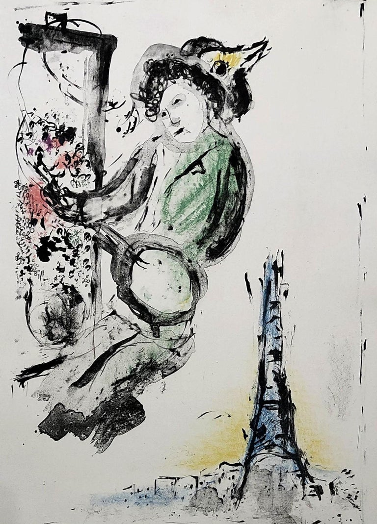 Le Peintre sur Paris - Original lithograph handsigned - Unique proof For Sale 2