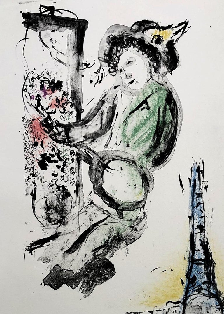 Le Peintre sur Paris - Original lithograph handsigned - Unique proof - Modern Print by Marc Chagall