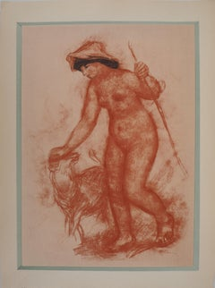 Shepherdess and Lamb - Lithograph and Charcoal stencil