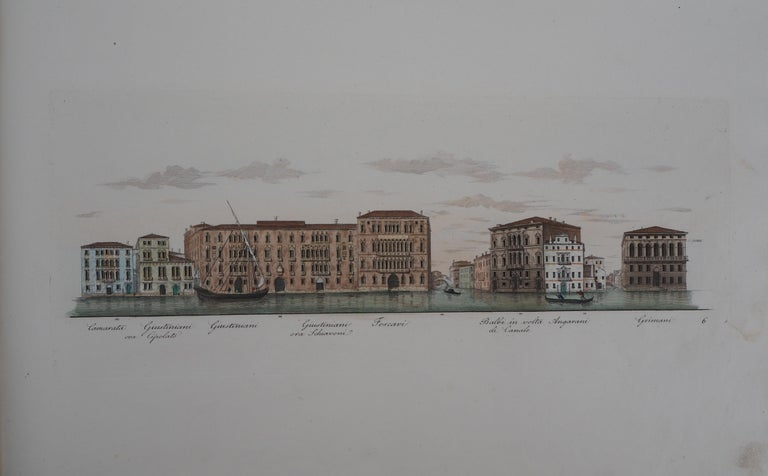 Venice, View of the Grand Canal  - Original etching and watercolor, 1831 - Print by Dionisio Moretti