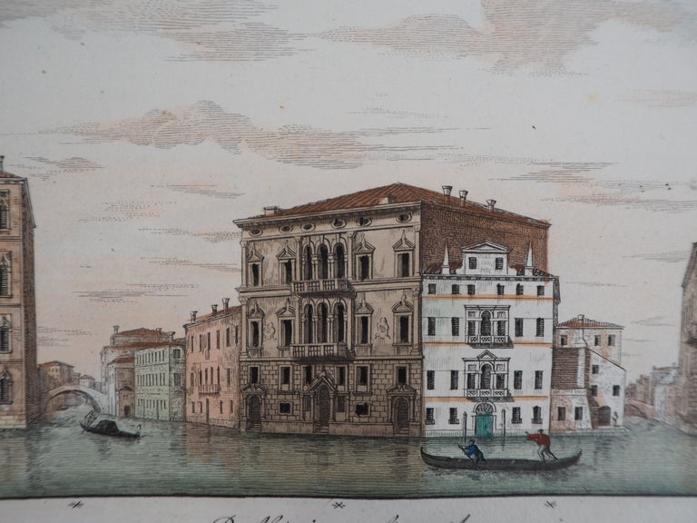 Venice, View of the Grand Canal  - Original etching and watercolor, 1831 - Gray Landscape Print by Dionisio Moretti