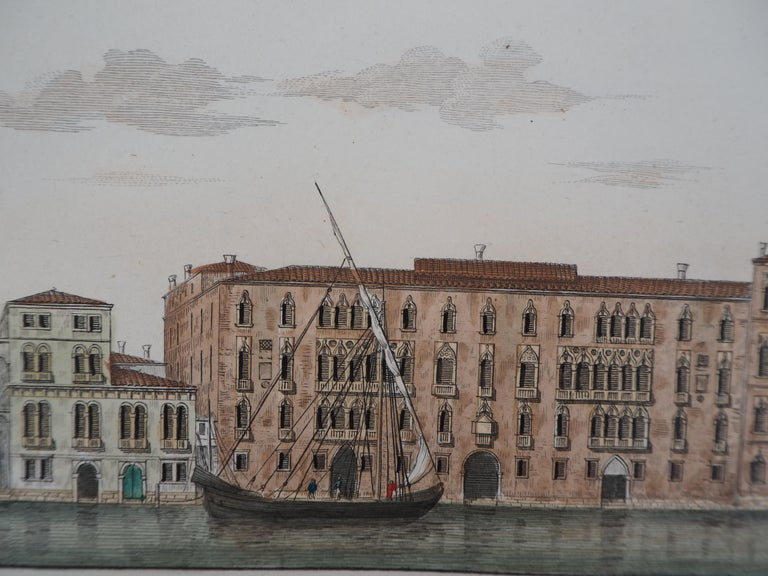 Venice, View of the Grand Canal  - Original etching and watercolor, 1831 For Sale 1