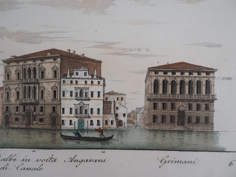 Venice, View of the Grand Canal  - Original etching and watercolor, 1831 For Sale 2