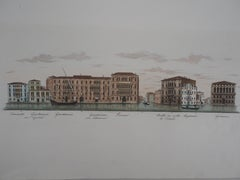 Venice, View of the Grand Canal  - Original etching and watercolor, 1831