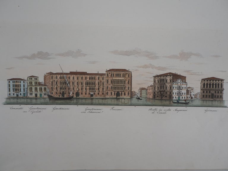 Dionisio Moretti Landscape Print - Venice, View of the Grand Canal  - Original etching and watercolor, 1831