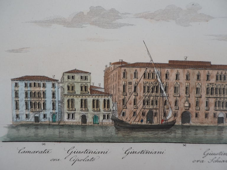 Venice, View of the Grand Canal  - Original etching and watercolor, 1831 For Sale 3