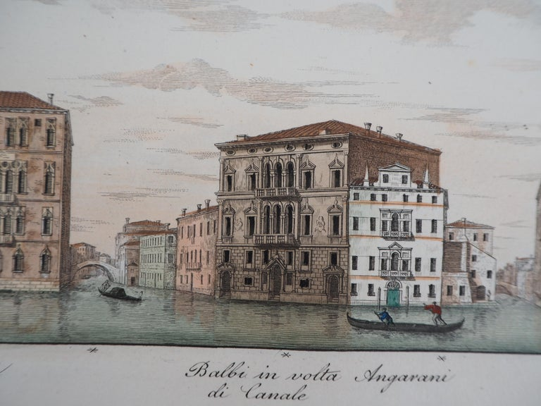 Dionisio MORETTI  View of the Grand Canal, 1831  Original etching  Finely enhanced by hand with watercolor On vellum  26 x 41 cm (c. 10.2 x 16 inch)  Very good condition, slight foxings on the edges (see pictures)