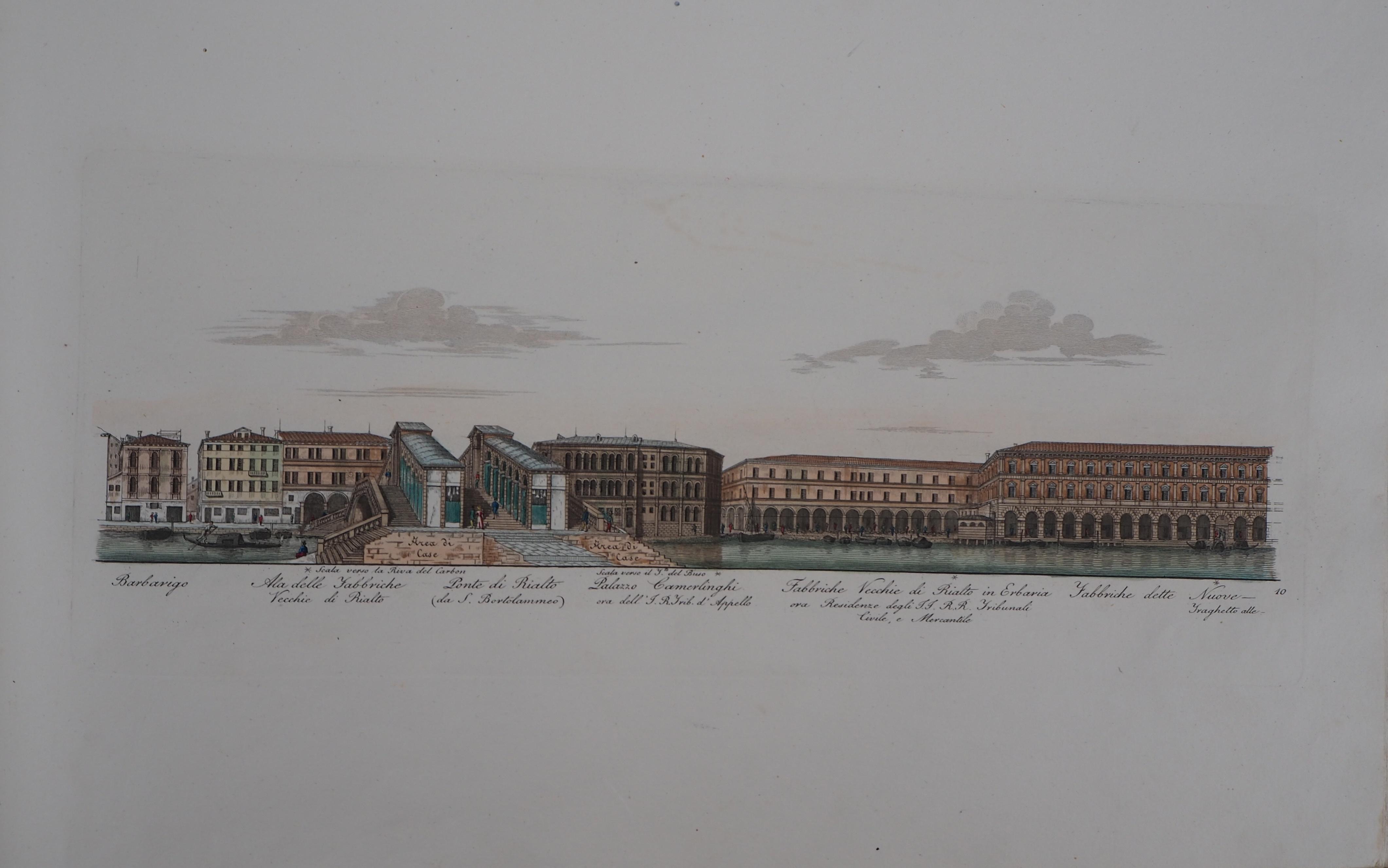 Venice, Rialto Bridge  - Original etching and watercolor, 1831