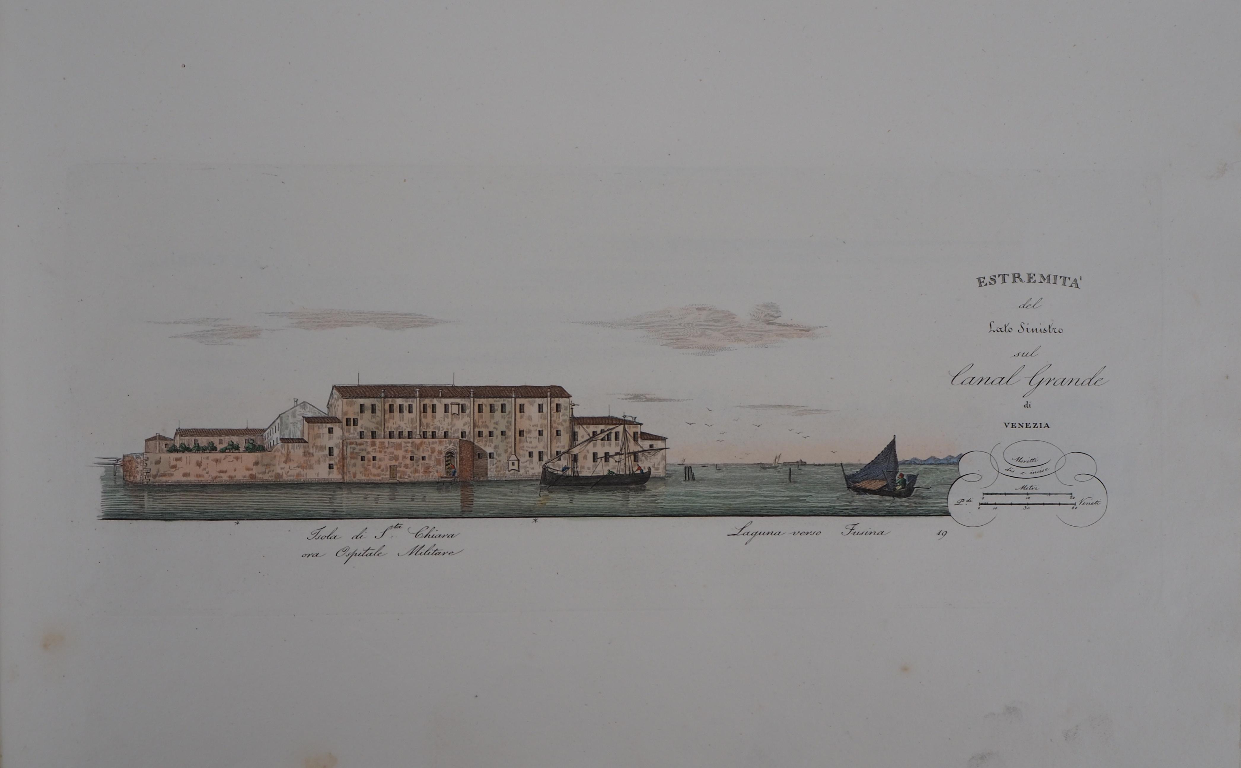 Venice, Santa Chiara Island - Original etching and watercolor, 1831