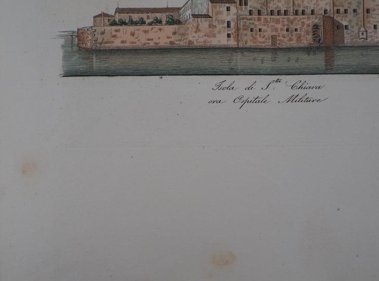 Venice, Santa Chiara Island - Original etching and watercolor, 1831 - Gray Landscape Print by Dionisio Moretti