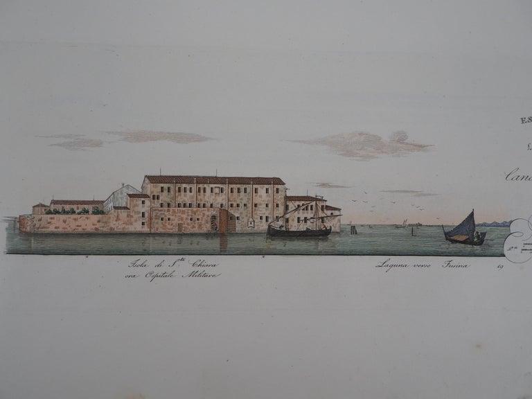 Venice, Santa Chiara Island - Original etching and watercolor, 1831 - Print by Dionisio Moretti