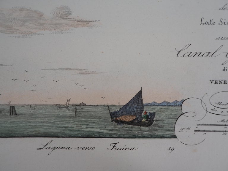 Dionisio MORETTI  Venice, Santa Chiara Island, 1831  Original etching  Finely enhanced by hand with watercolor On vellum  26 x 41 cm (c. 10.2 x 16 inch)  Very good condition, slight foxings on the edges (see pictures)