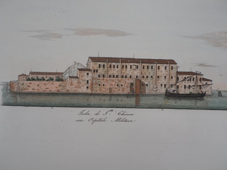 Venice, Santa Chiara Island - Original etching and watercolor, 1831 For Sale 1