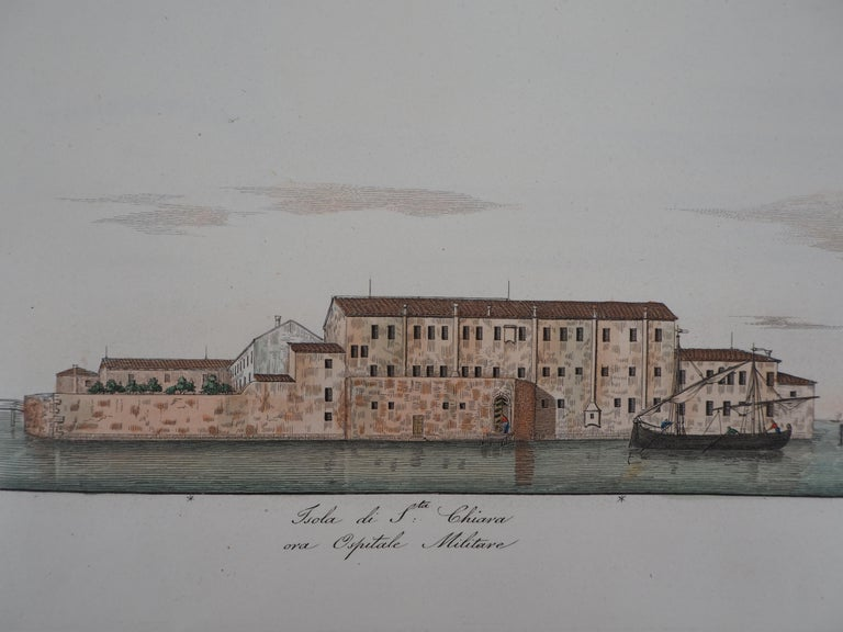 Venice, Santa Chiara Island - Original etching and watercolor, 1831 For Sale 2