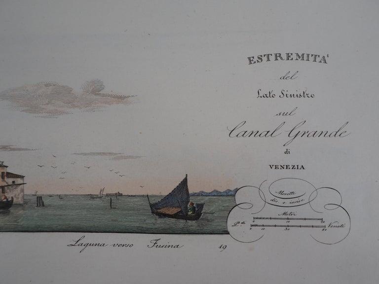 Venice, Santa Chiara Island - Original etching and watercolor, 1831 For Sale 3