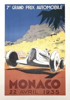 7th Grand Prix Automobile Monaco 1935 - Lithographic Poster Signed
