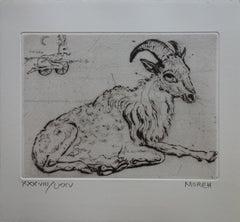 Relaxing Billy Goat - Etching, Ltd 75 copies