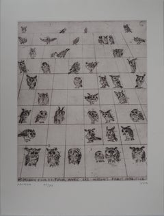To Finish with the Owls - Original handsigned etching, Ltd 90 copies