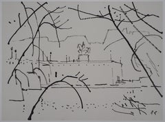 View of the Pont Neuf in Paris - Original hansigned ink drawing