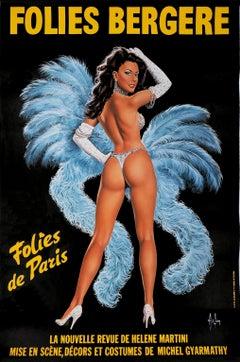 Folies Bergeres (Blue version) - Tall original vintage poster (Moulin Rouge)