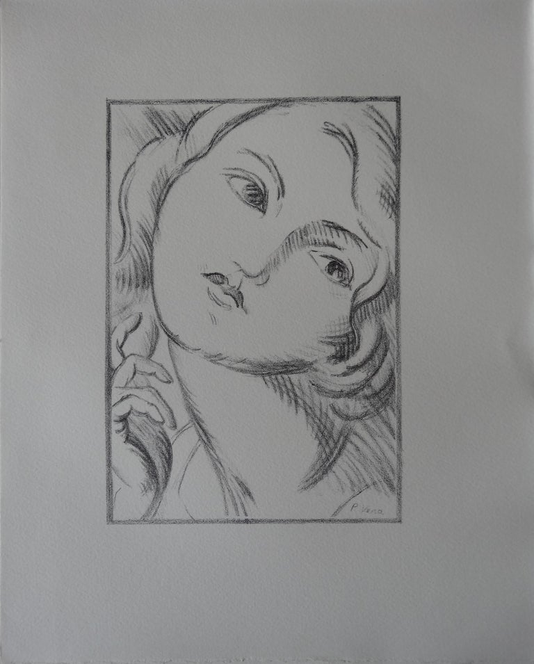 Laure, Model with Tall Eyes - Stone lithograph, 1930 - Print by Paul VERA