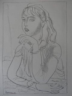 Woman in a Café - Stone lithograph, 1930