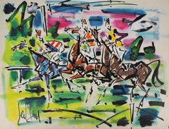 The Horse Race - Original handsigned gouache and watercolor