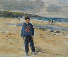 Normandy : Boy on the Beach - Oil On Canvas Hansigned