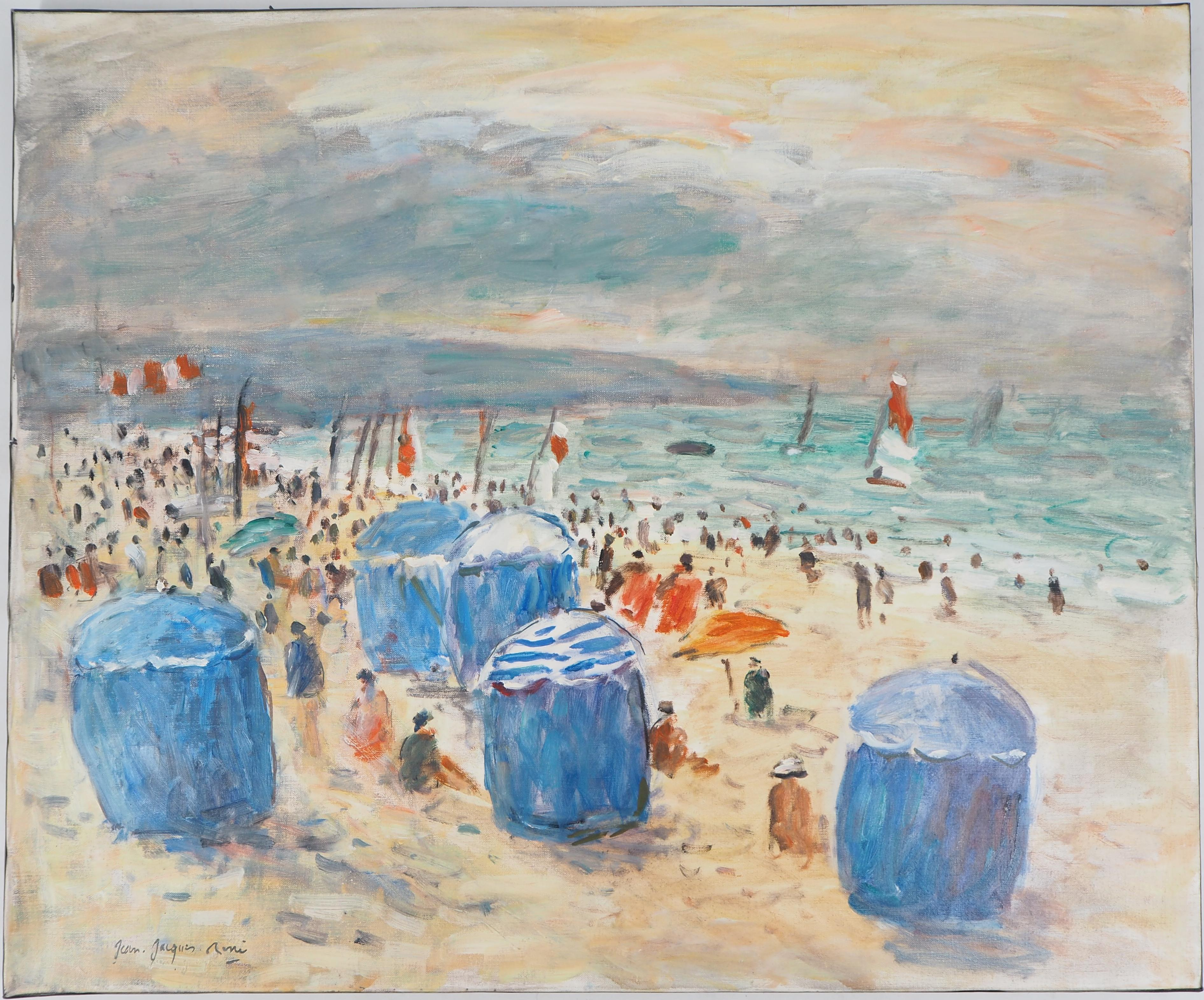 Seascape : Animated Beach in Normandy - Oil On Canvas Hansigned
