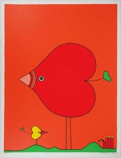 Heart-Bird and Baby - Original Handsigned Screen Print