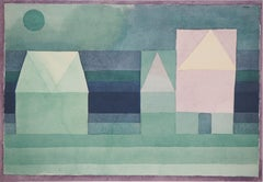 Three House, Green-Violet Gradation - Lithograph and Stencil