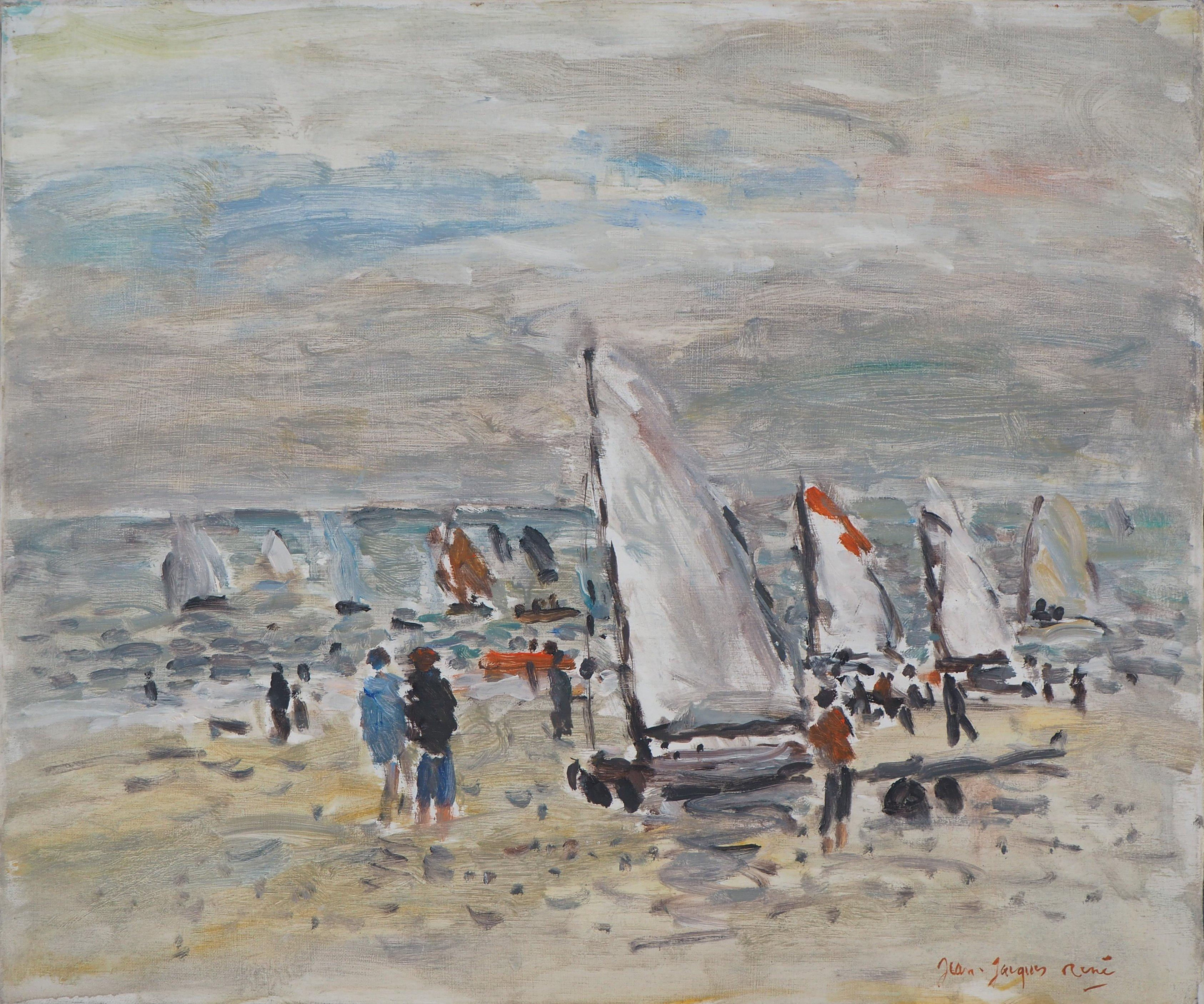 The Departure of the Sailboats - Oil On Canvas Hansigned