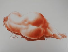 Reclining Nude - Original handsigned drawing in sanguine