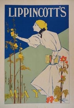 Woman Picking Flowers - Lithograph (Les Maîtres de l'Affiche), 1895