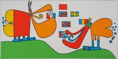Funny Birds Eating Flags - Original Handsigned Screen Print