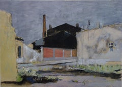 Near Bordeaux : The Old Industry, A Pink Wall - Original hansigned watercolor