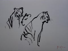 Ink Animal Drawings and Watercolours