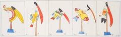 Colorful Birds - Original watercolor, Handsigned