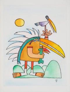 Bird with Native American Indian Costume - Original watercolor, Handsigned