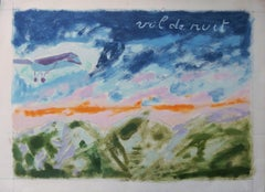 Saint Exupery : Flight at the Sunshine - Original painting, Handsigned