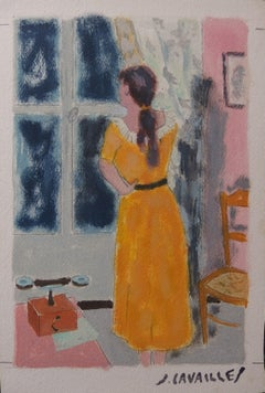 Woman Looking at the Window - Original painting, Handsigned