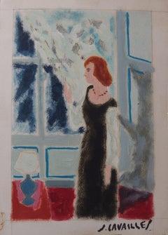 Waiting Woman - Original painting, Handsigned
