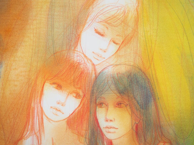 Three Shy Women - Original charcoal drawing, Handsigned - Brown Nude by Jean-Baptiste Valadie