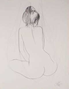 Seated Nude - Original pencil drawing, Handsigned