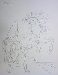 Strength : Horse and Superman - Original handsigned drawing